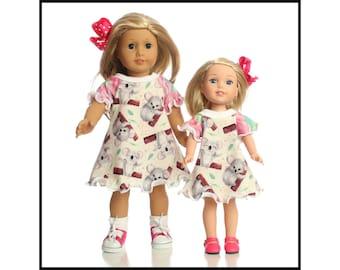 Koala Bear dress 18 inch doll dress 15 inch doll dress 14.5 inch doll dress Cute Koalas Birthday dress ag dress