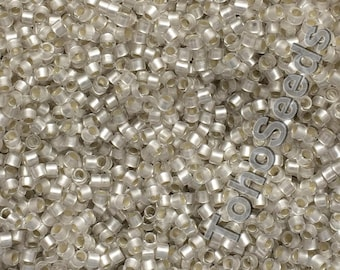 5g Toho 11/0 Treasure Cylinder Seeds Beads Matte Crystal Silver Line TT-01-21F Cylinder Rocailles Frosted White Silver