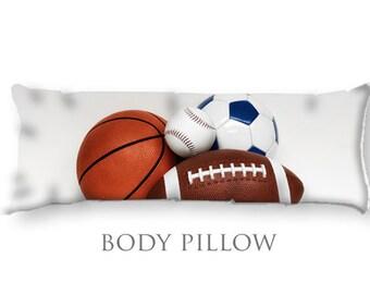 4 Sport Body Pillow-Baseball/Soccer/Football/Basketball Bed Pillow-Large Sleeping Pillow-Large Pillow Cover-Sports Pillow Cover-Bed Bolster