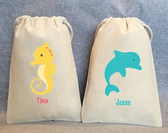 "7 Under the Sea, Under the sea party, Sea animal party, Sea animal party favor bags, 4""x6"""