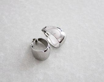 shiny silver loop earrings | clip on hoops | clip on loops