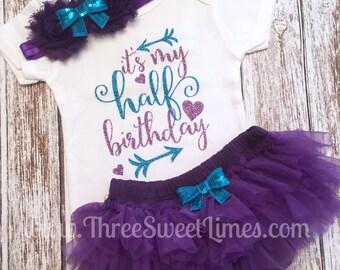 It's My Half Birthday Outfit Baby Girl | Tutu Bloomers | Six Month Birthday | Purple Teal Glitter | Opt Headband & Ruffle Bloomers Half Way