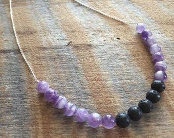 Sterling Silver Amethyst Lava Stone Necklace, Aromatherapy jewelry, diffuser necklace, Essential Oil Jewelry, Crown Chakra, Healing Jewelry