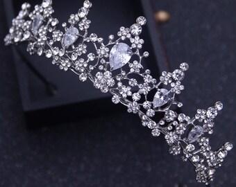 Rhinestone Wedding Tiara, Princess Tiara, Royal Bridal Crown, Silver Crown