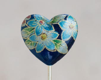 Heart Stick Pin - Blue Flowers Tie Pin - Vintage Lapel Pin