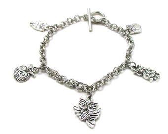 Owl Bracelet, Owl Charm Bracelet, Owl Jewelry, Owl Lover Bracelet, Barn Owl Bracelet, Nite Owl Bracelet, Owl Gift, Wise Owl Charm Bracelet