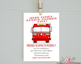 Fireman Birthday Invitation/birthday/Fireman Birthday/ Firetruck Invite/ Boy Birthday/ Boy Firetruck Invite