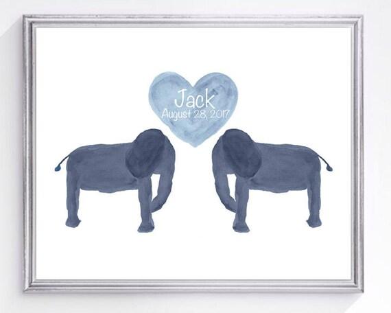 Baby Animal Nursery Print with Elephant, 8x10 with Name and Birthday