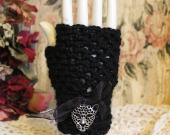 Women's Sparkling Black Cheetah Fingerless Gloves - One Size