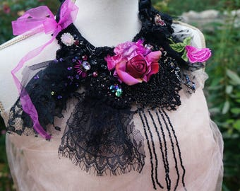 Magenta Rose - Romantic bold statement necklace Bohemian art to wear Fairy necklace Black lace necklace Victorian beaded handmade neckpiece
