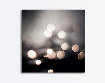 "Black and White Abstract Canvas Photography - bokeh lights print sparkle circles sparkly dark grey gray canvas gallery wrap, ""Evening Glow"""
