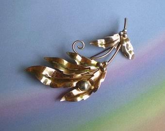 Vintage 40s Sterling Silver Vermeil Leaf Berries Pin