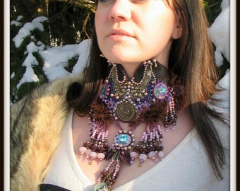 FINAL CLEARANCE Bound & Determined Steampunk Seed Bead Embroidered Necklace - multimedia statement neckpiece - haute couture - Hannah Rosner
