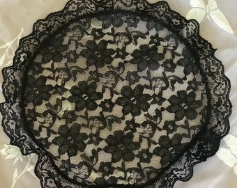 Large Black Lace Head Covering Preayer Cap Church Veil
