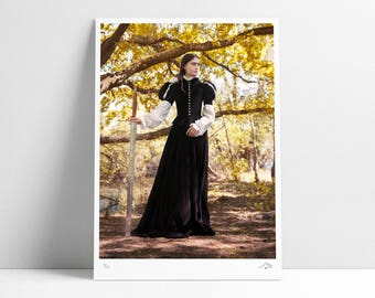 Fantasy Sword Print Poster / Fine Art Wall Decoration / Yellow / Limited Edition / Artist Maarten De Laet / Guardians