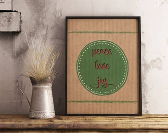 Printable Wall Art, Christmas Decor, Peace Love Joy, Christmas Typography Quote, Christmas quote, Cardboard Background