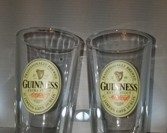 Set of 2 Guinness Extra Stout Beer Glasses, Glass.  Bar, Man Cave,