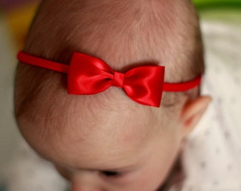 Baby Headbands, Flower Girl Headband, Hair bands, Headband, Girl Headbands, Newborn Headbands - Small Satin Red Bow - Golden Beam
