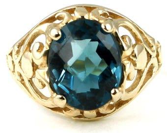 London Blue Topaz, 18KY Gold Ring, R004
