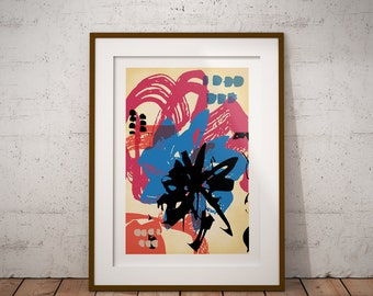 Abstract Marks Giclee Art Print Gift Poster, Contemporary Art Print, Street Art Style Print