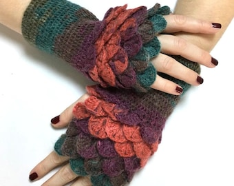Dragon Scale Fingerless Gloves, Dragon Gloves, Crocodile Fingerless Gloves, Gift For Her, Gift For Christmas