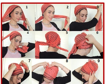 How To Tie My SCARF TICHEL,Hair Snood, Head Scarf,Head Covering,jewish headcovering,Scarf,Bandana,apron, Mitpachat,chemo, Hair Loss,Modesty