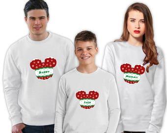 10% off Christmas Jumpers | Disney Bauble Family Christmas Sweatshirt | Women's/Men's/Unisex/Kid's Jumper | White, Blue, Red, Green