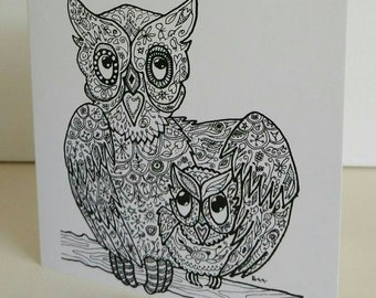 Owl Love You fine art card from original owl drawing by Bee Skelton. Any occasion birthday gift anniversary thank you