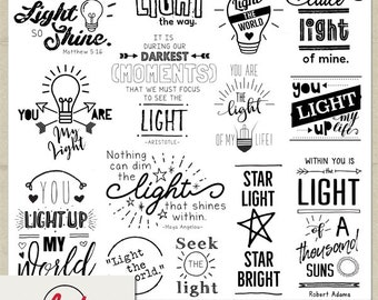 Digital and Printable Overlay Word Art Set - Instant Download - You Light Up My Life - Photography