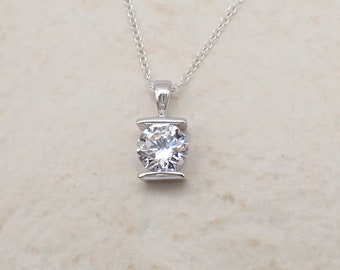 Sparkly Tension Set Solitaire CZ Pendant Necklace Sterling Silver Clear Cable Chain
