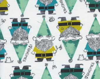 PRE-ORDER, Cotton and Steel, Sarah Watts, Front Yard, Gnomes in Green, White Fabric, Garden Gnome Fabric, Bee Fabric, 2069-01