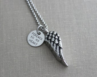 Cremation Urn Pendant - Angel Wing - Stainless Steel  - Forever in my heart Hand Stamped Disc - Personalized  memorial Charm - Loss -