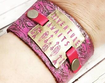 Leather Cuff, Leather Bracelet, Cuff Bracelet, Wide Cuff Bracelet, Pink Leather Cuff, Pink Bracelet, Inspirational Bracelet, Womens Gift