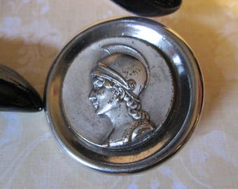 "Large Vintage Metal Picture/Story Button*Mythological MINERVA*silvertone*1-3/8"" across     (9398)"