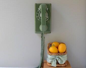 Rotary wall phone; working wall phone; green rotary dial wall telephone; wall mount retro telephone; avocado green wall phone
