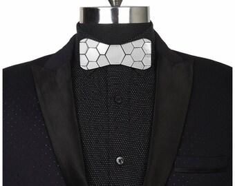 Dapper Style Silver Bow Tie- Honeycomb Hex Style Bow Tie (Suit Accessories - NeckTie,modern groom , Bowtie Honeycomb Unique)