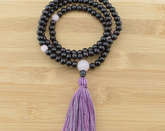 Rosewood Mala Beads Necklace with Rose Quartz   8mm   108 Buddhist Meditation Prayer Beads with Tassel   Free Shipping