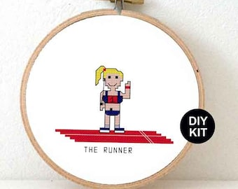 DIY gifts for runners. Cross stitch kit to make a Half marathon gift for female runner or male runner.