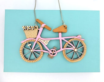 Pink bike necklace with flowers. Hand painted laser cut statement necklace. Summer accessories, colourful necklace. Pink statement necklace