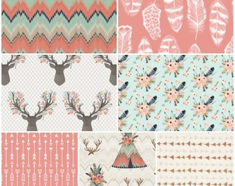 Custom Baby Girl Bedding Set in mint, pink, coral, gold, with teepees, chevron, arrows and modern fabrics, made to order