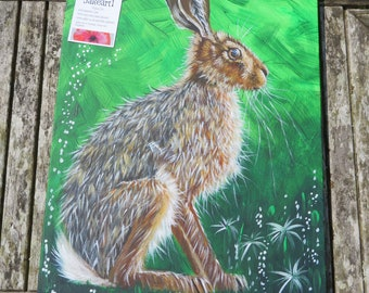 Hares, hare, hare painting, British wildlife, animal art, animal lover's gift, gift for her, gift for him, canvas art, wildlife, hare canvas