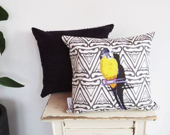 Faux Suede Leather back Budgie Bird Cushion Pillow Cover | yellow & black | (fits 50cm x 50cm filler) | Great Christmas / birthday gift