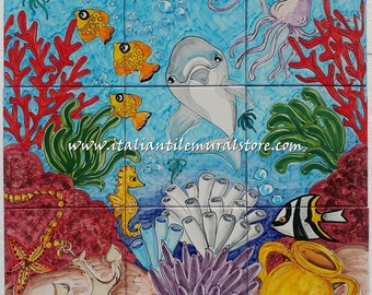 Amalfi Cost Sea Life - Baths Tile Art Ceramic Backsplash for Kitchen