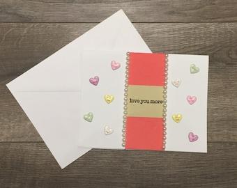 Candy Hearts Love Card, I Love You Card, Romantic Card