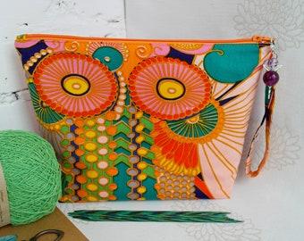 Project bag for knitting, Yarn Bag, Zipper knitting Bag, DPN holder, Striped project Bag, Yarn storage bag, Yarn organizer, Marker stitch