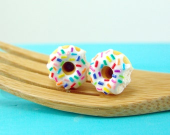 Donut Earrings // Donuts with Rainbow Sprinkles and Vanilla Bean Icing // MADE TO ORDER // Post or Clip On Earrings