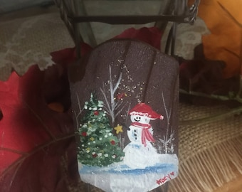 Hand painted sled ornament