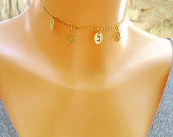 Best Friend Gift, Gold Choker Necklace, Jewish Jewelry, Star of David Necklace, Hebrew Jewelry, Hebrew Letter, Hamsa Necklace, Bat mitzvah