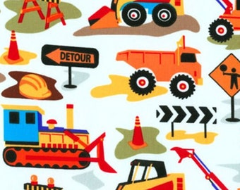 Tot Town Dig It Building Construction Digger Cotton Fabric from Tot Town Dig It collection by Michael Miller Fabrics