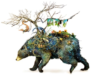 """the burden of motion and ambition - black bear - Original Giclee Edition Print - 13x19"""""""